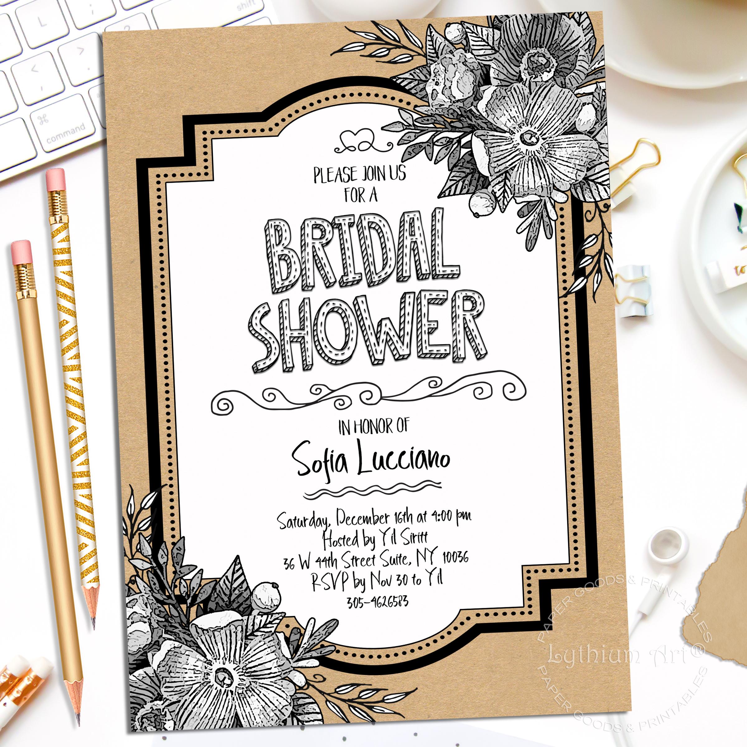 image regarding Bridal Shower Printable Invitations titled BRIDAL SHOWER INVITATION, Bridal Shower Electronic Invitation, Bridal Shower Invite, Bridal Shower Printable Invitation,Bridal Shower Printable
