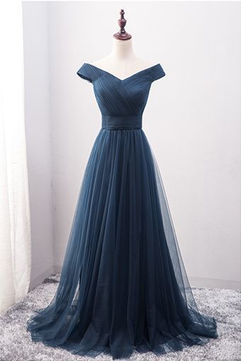 Charming Homecoming Dress,Off Shoulder Tulle Evening Dress,Long Prom Dresses
