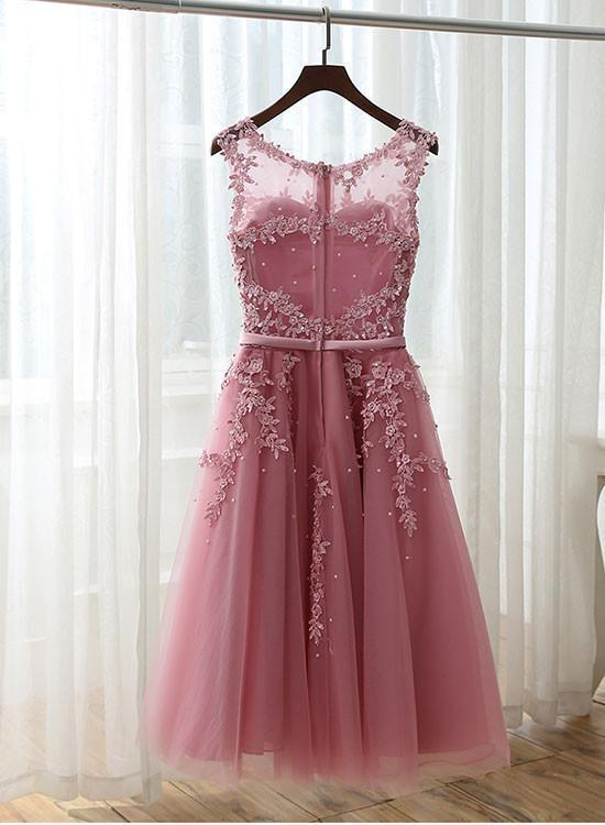 A line lace short prom dress, lace homecoming dress