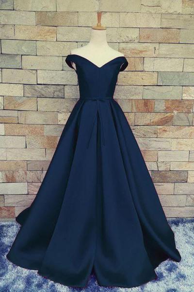 Dark blue chiffon off-shoulder A-line long dress,floor-length prom dress