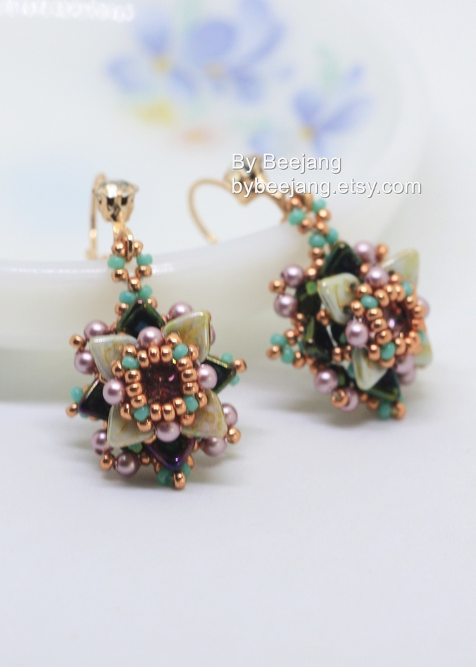 PDF Tutorial - Dione Earrings Instant download Beadweaving Instruction Beading
