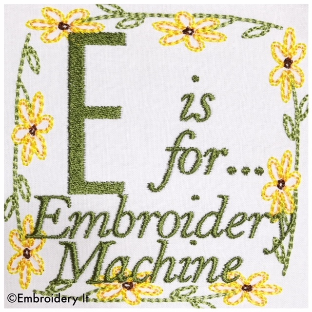 Embroidery Words Alphabet Letter E - Machine Embroidery Design in Pes, Dst, Exp,