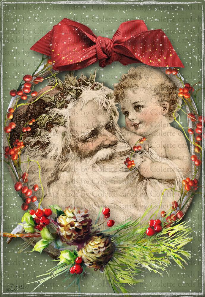 Christmas Santa and Baby Digital Collage Greeting Card443