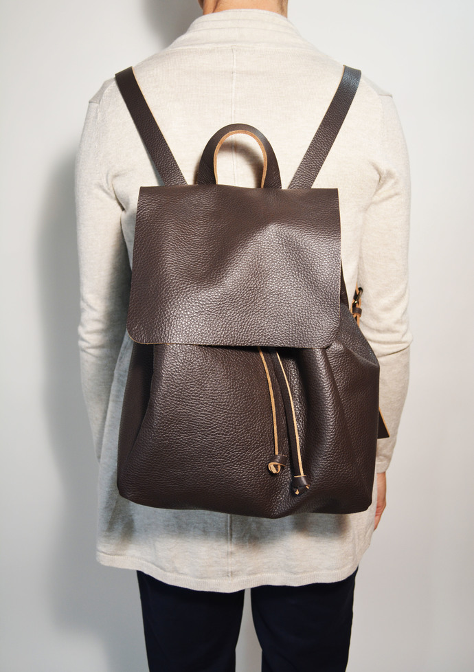 Brown Leather Backpack Soft Leather Backpack Travel Leather Backpack