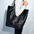 Shopping Bag Black Leather Bag Tote Bag Black Bag Leather Shopper