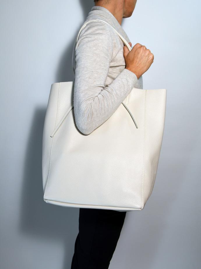 Shopping Bag Off White Leather Bag Tote Bag Black Bag Leather Shopper