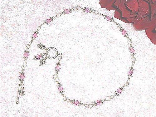 Rose Crystal Ankle Bracelet in Sterling Silver