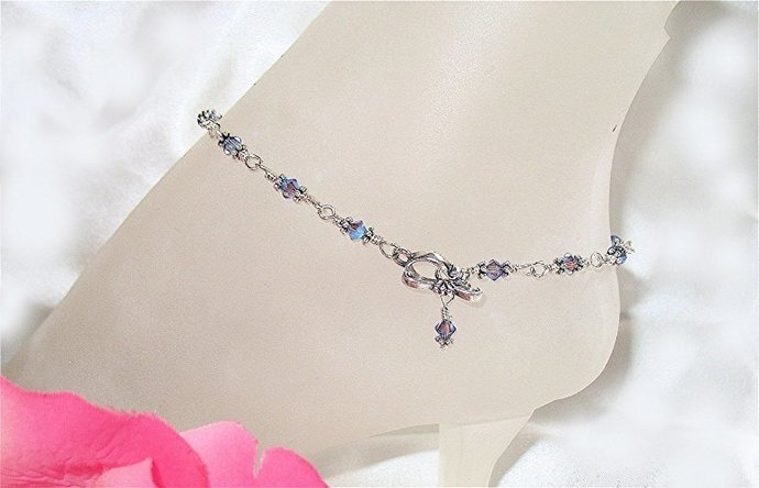 Glittering Tanzanite Crystal Sterling Silver Anklet