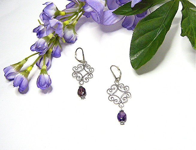 Amethyst Lace Sterling Silver Filigree Earrings