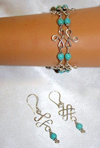 Turquoise Celtic Knot Sterling Silver Bracelet Earrings Set