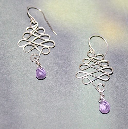 Sterling Silver Glittering Celtic Amethyst Earrings