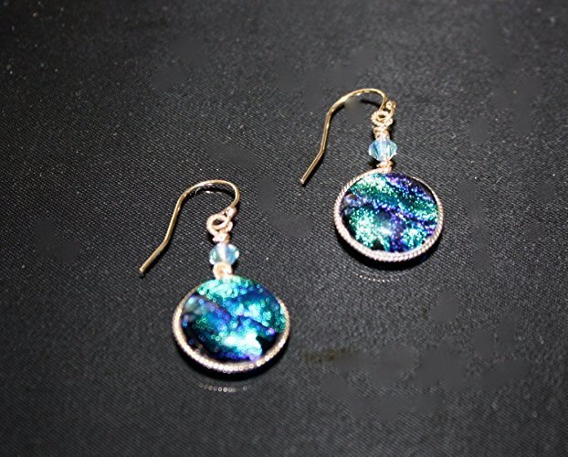 Stunning Blue Green Wave Dichroic Dangle Gold Filled Earrings