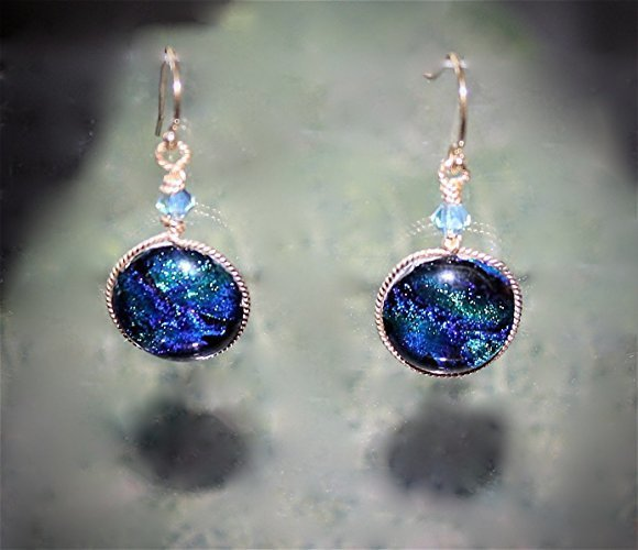Stunning Blue Green Wave Dichroic Dangle Earrings