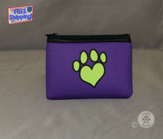 Dog Lover Neoprene Zippered Pouch (Yellow paw heart design on purple background)