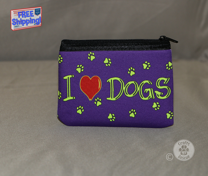 "Dog Lover Neoprene Zippered Pouch (""I [heart] DOGS"" design on purple background)"