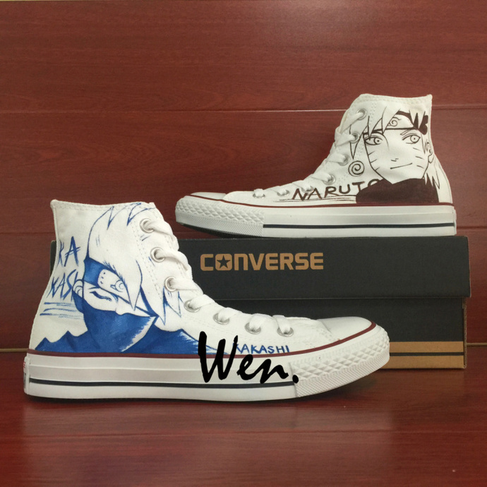 214d35fa9489 Design Naruto Kakashi Hand Painted Shoes Canvas Converse Chuck Taylor All  Star