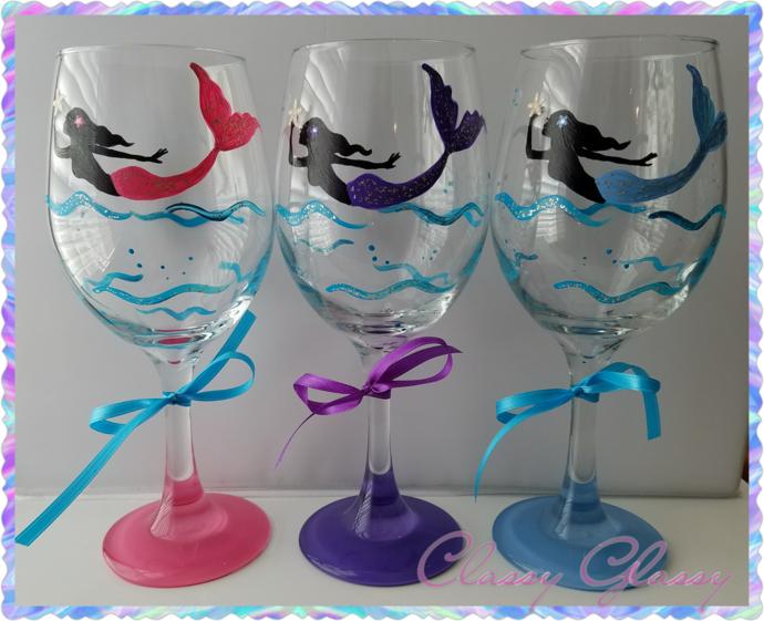 Mermaid Swimming Hand Painted Wine Glass