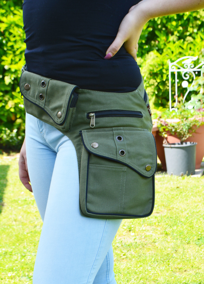 Women's Canvas Pocket Belt-Army Green -  Festival Belt Army Green - Green