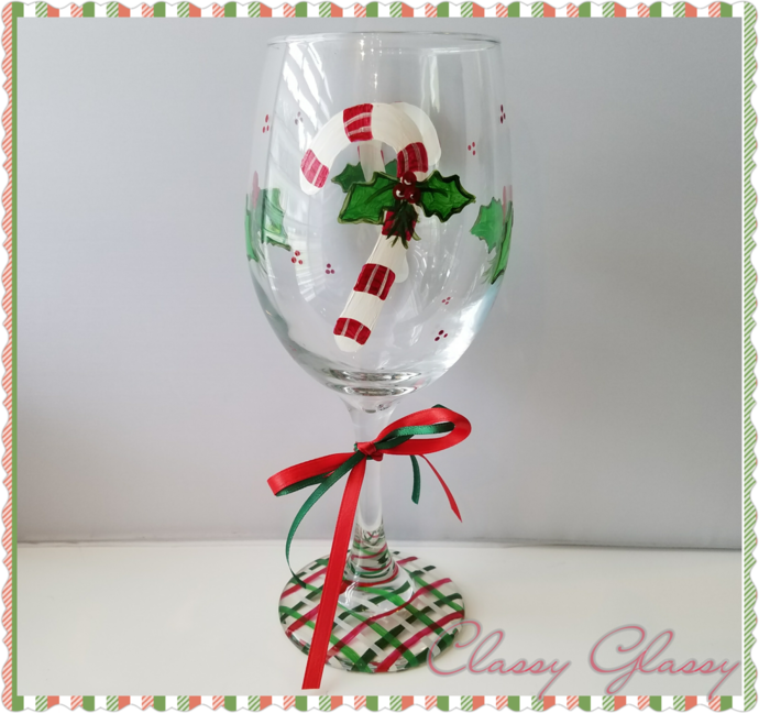 Candy Cane Hand Painted Wine Glass