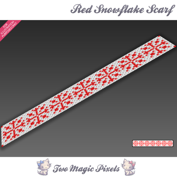 Red Snowflakes Crochet Scarf Pattern By Twomagicpixels On Zibbet