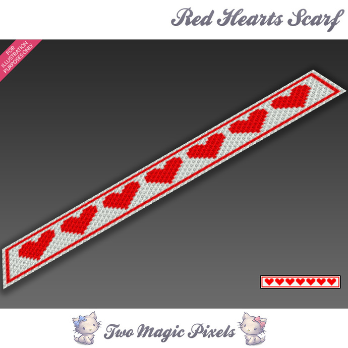 Red Hearts Crochet Scarf Pattern Graph By Twomagicpixels On Zibbet