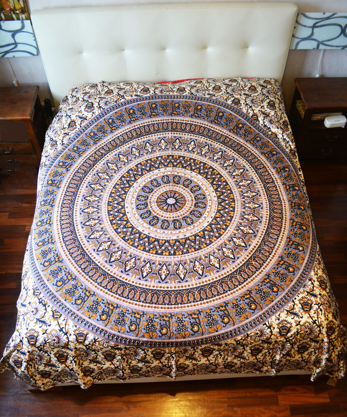 Boho Bed Sheet Mandala Double Bed Cover Cotton Beach Sheet Wall Hanging