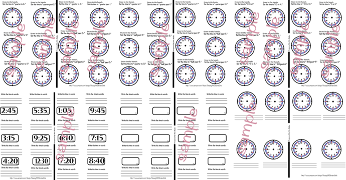 Copy of Printable Clock Time-  Please see our Tutorial BEFORE making your