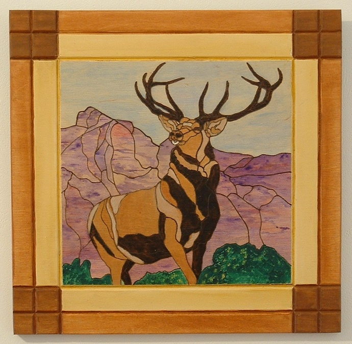 Wood Wall Art, Deer, Pyrography, Hunters Trophy