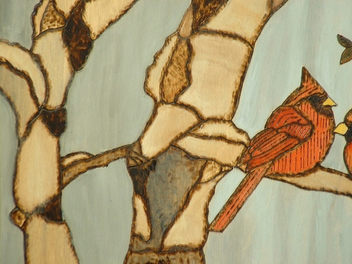 Cardinals, Red Birds, Aspen Trees, Wood Wall Art, Pyrography, Decorative Art
