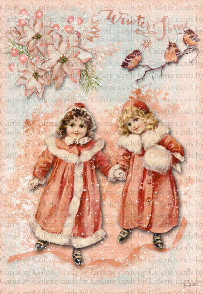 Christmas Children Skating Digital Collage Greeting Card882a