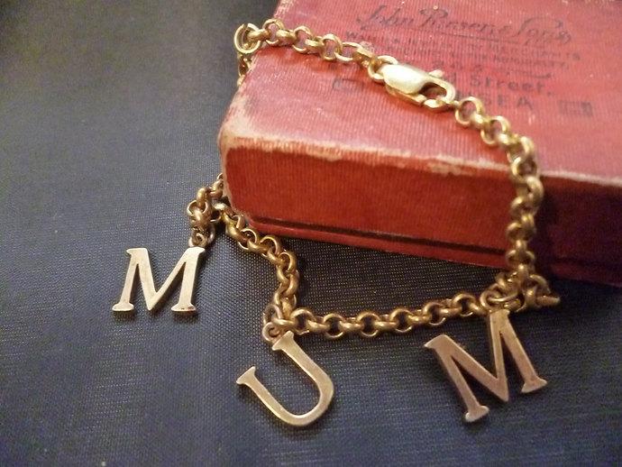 Sterling silver MUM bracelet - Gold plated - Vintage - 925 - 7 inch