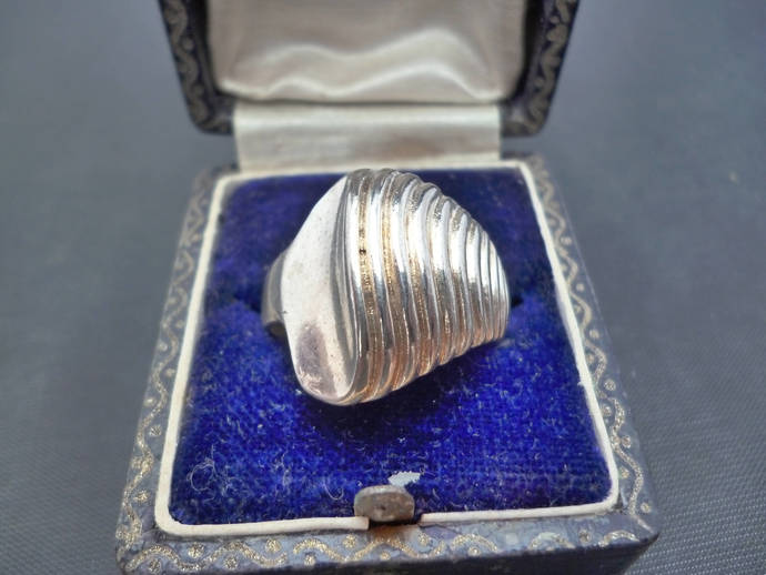 A stunning Deco style vintage silver ring - 925 - sterling silver - UK R - US