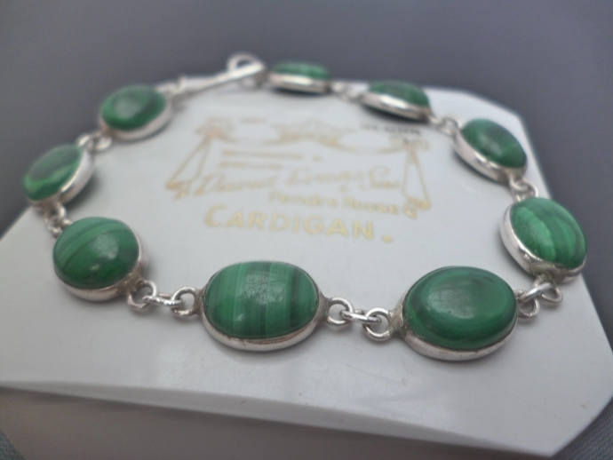 A superb vintage silver and malachite bracelet - 925 - sterling silver - 6""