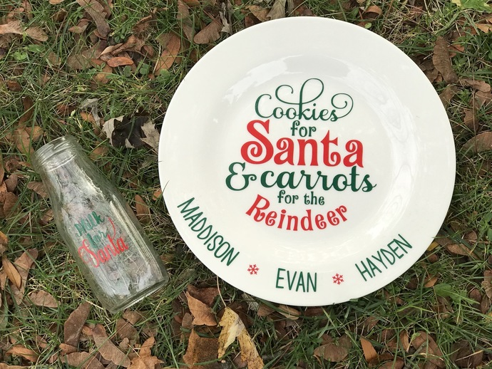 Personalized Santa reindeer plate and milk cup.