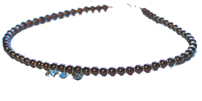 Moon Phases Choker, Celestial Signs, Brown Pearl Necklace, Beaded Necklace,