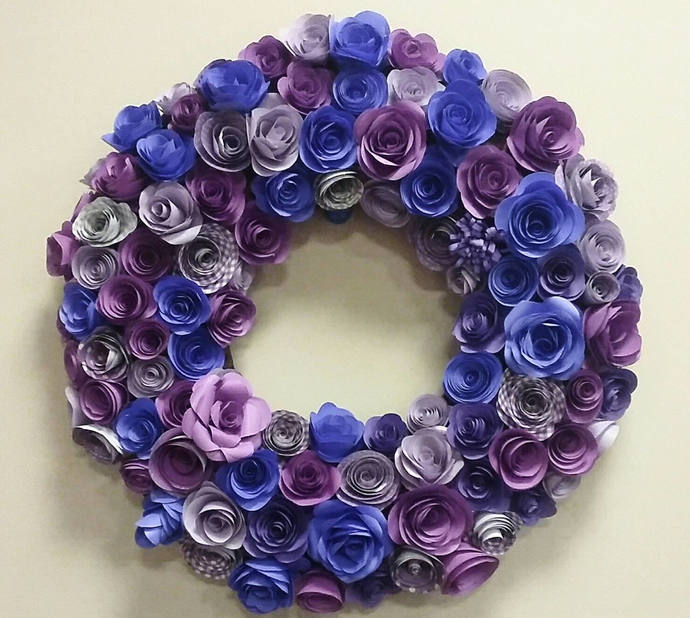 Custom 20\' Paper Flower Wreath, Purple Paper by Paper Blooms on