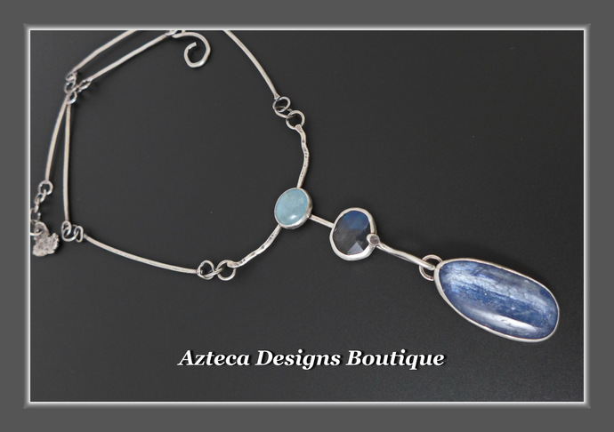 Waterfall~ Aquamarine Labradorite Kyanite Hand Fabricated Argentium Silver
