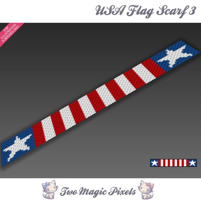 Usa Flag Crochet Scarf 3 Pattern Graph Twomagicpixels