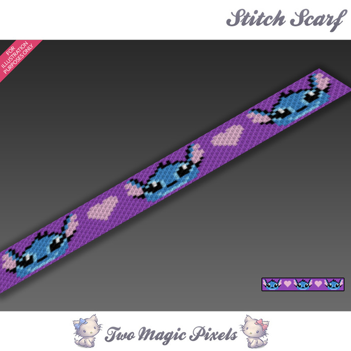 Stitch Crochet Scarf Pattern Graph Pdf By Twomagicpixels On Zibbet