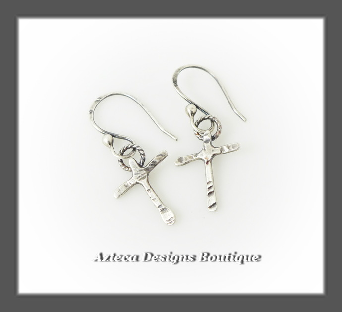 Rugged Cross Hand Fabricated Argentium Silver Earrings
