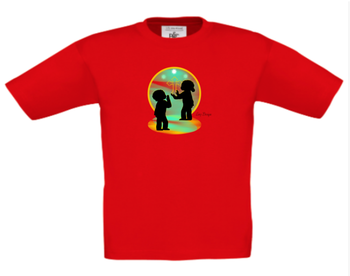 ETHNIC CHILDREN STANDING IN PRAYER - T-SHIRT TOP These can be PERSONALISED.