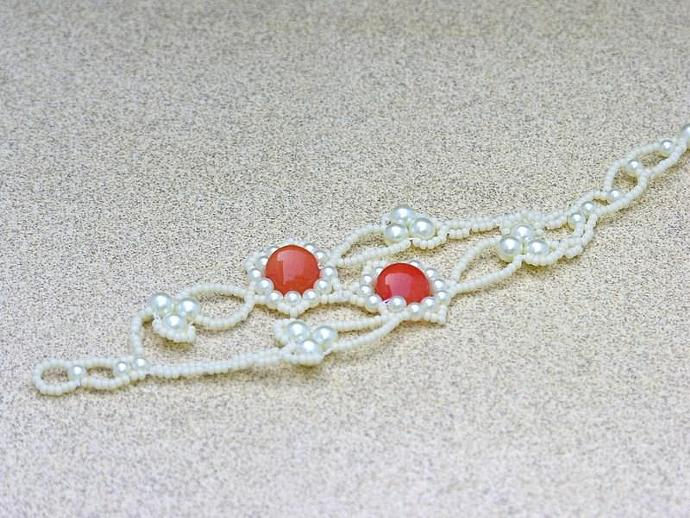 Handmade Beadwoven Vanilla, Pearl & Orange Bracelet