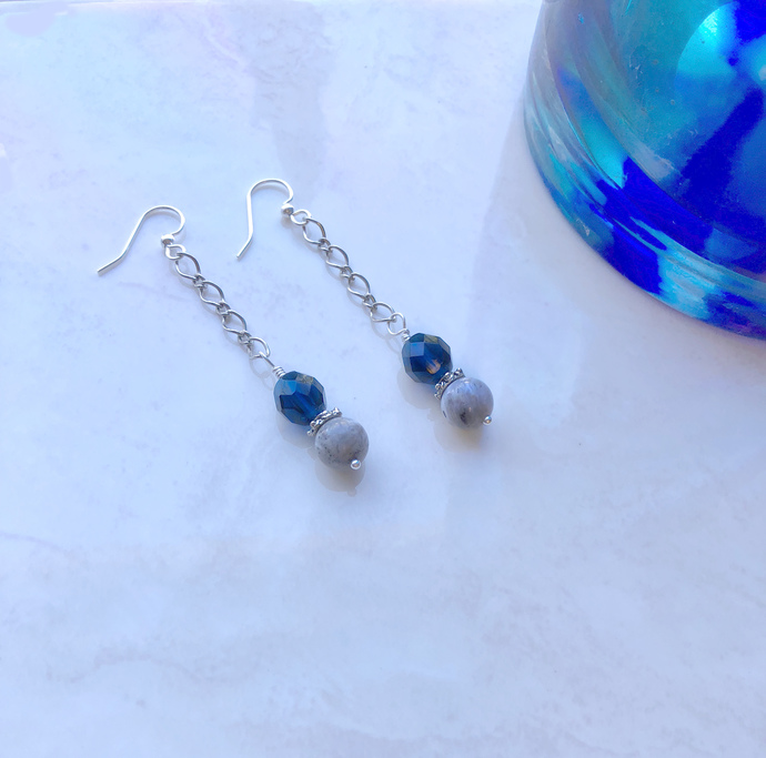 Gray and Blue Flashes of Delight  Chain Earrings