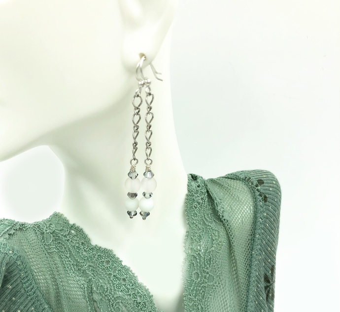Frosted White Crystal Sea Glass Chain Earrings