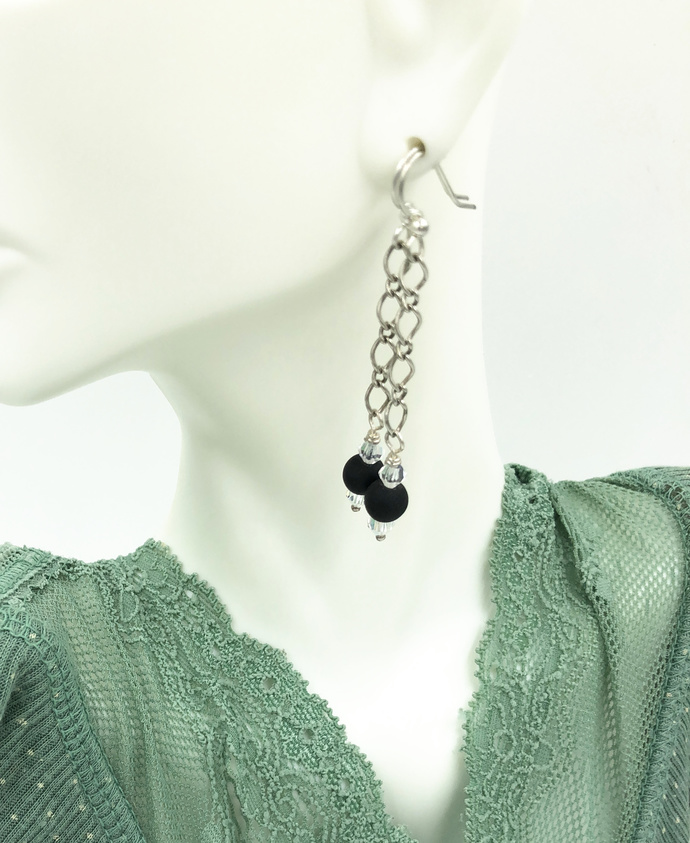Frosted Black Crystal Sea Glass Chain Earrings