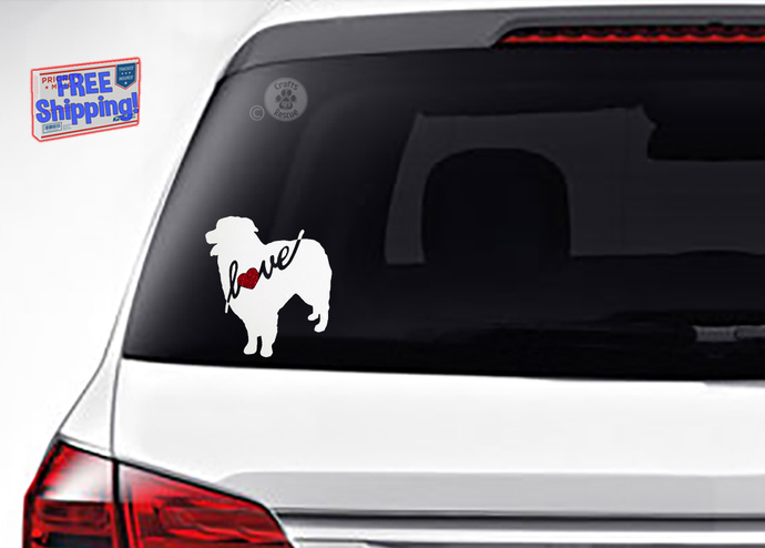 Australian Shepherd Love Decals, two sizes and varieties available