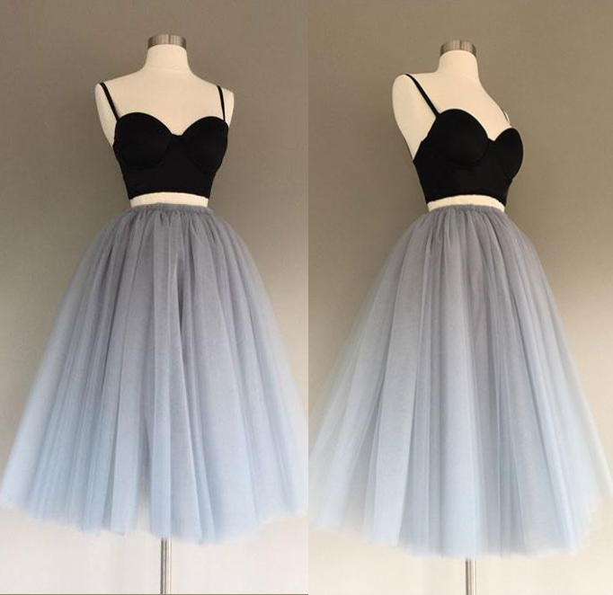 Cute Prom Dress,Tulle Homecoming Dress,Two Pieces Graduation Dress,Spaghetti