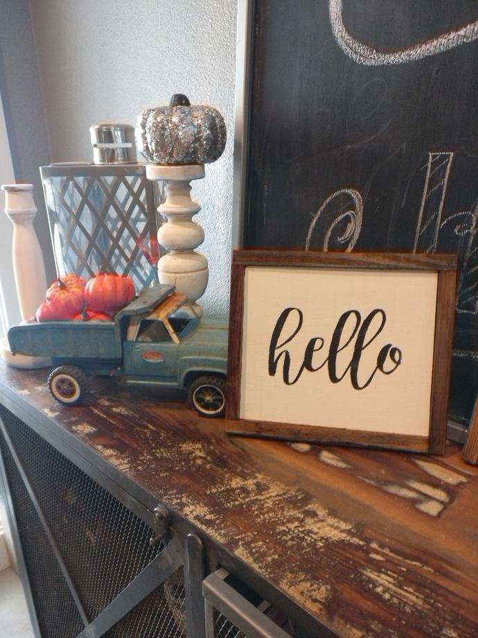 "Framed Wood Sign- ""Hello"""
