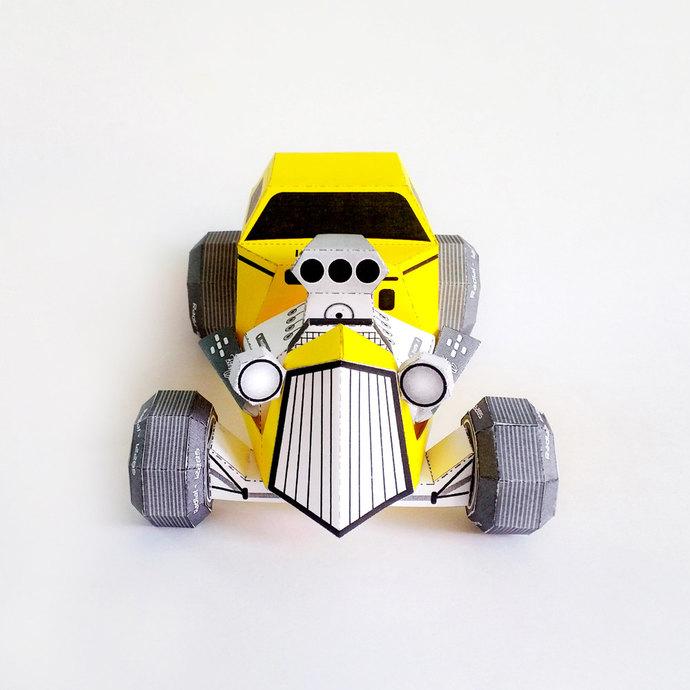 DIY Papercrafts, Hot rod paper model,Paper toys,Printables,Origami,3d paper