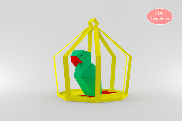 DIY Papercrafts,Paper parrot,3d parrot,Paper birds,Tropical birds,Printable